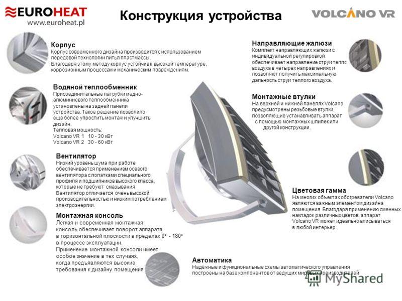 Конструкция устройства Направляющие жалюзи Комплект направляющих жалюзи с индивидуальной регулировкой обеспечивает направление струи теплого воздуха в четырех направлениях и позволяют получить максимальную дальность струи теплого воздуха. Корпус Корп