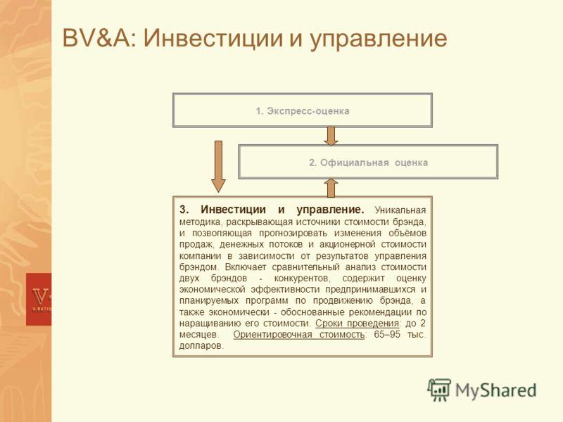 BV&A: Инвестиции и управление 3. Инвестиции и управление. Уникальная методика, раскрывающая источники стоимости брэнда, и позволяющая прогнозировать изменения объёмов продаж, денежных потоков и акционерной стоимости компании в зависимости от результа