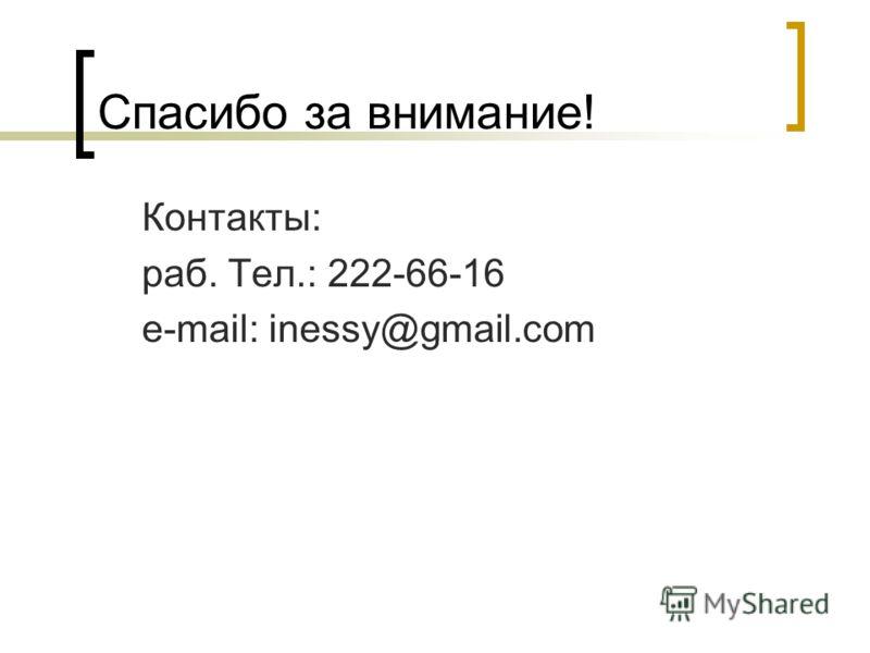 Спасибо за внимание! Контакты: раб. Тел.: 222-66-16 e-mail: inessy@gmail.com
