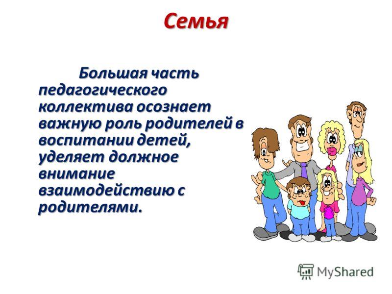 Семья Большая часть педагогического коллектива осознает важную роль родителей в воспитании детей, уделяет должное внимание взаимодействию с родителями. Большая часть педагогического коллектива осознает важную роль родителей в воспитании детей, уделяе