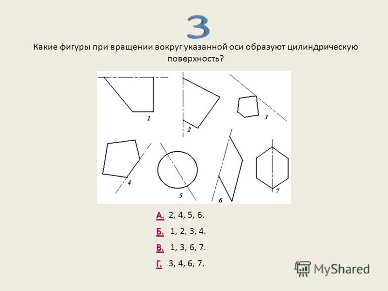 Какие фигуры при вращении вокруг указанной оси образуют цилиндрическую поверхность? А. А. 2, 4, 5, 6. Б. Б. 1, 2, 3, 4. Г. Г. 3, 4, 6, 7. В. В. 1, 3, 6, 7.