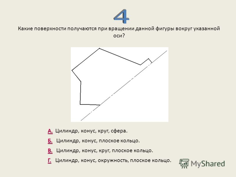 Какие поверхности получаются при вращении данной фигуры вокруг указанной оси? А. А. Цилиндр, конус, круг, сфера. Б. Б. Цилиндр, конус, плоское кольцо. В. В. Цилиндр, конус, круг, плоское кольцо. Г. Г. Цилиндр, конус, окружность, плоское кольцо.