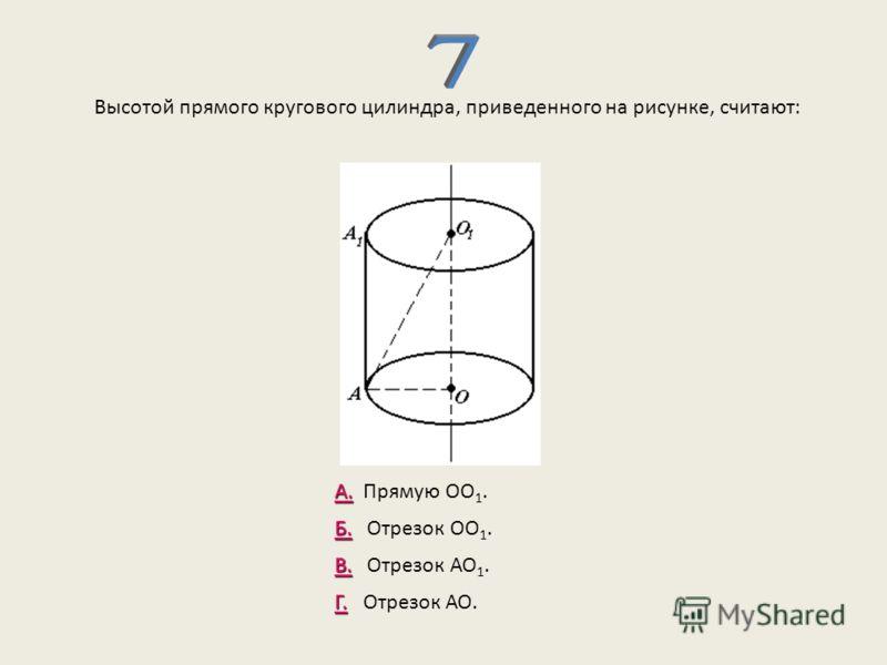 Высотой прямого кругового цилиндра, приведенного на рисунке, считают: А. А. Прямую ОО 1. Б. Б. Отрезок ОО 1. В. В. Отрезок АО 1. Г. Г. Отрезок АО.