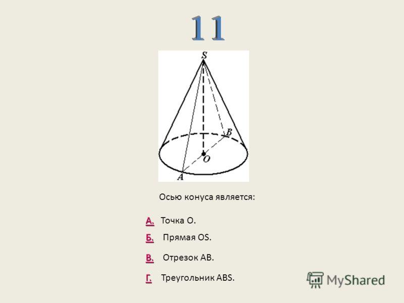 А. А. Точка О. Б. Б. Прямая ОS. В. В. Отрезок АВ. Г. Г. Треугольник АВS. Осью конуса является: