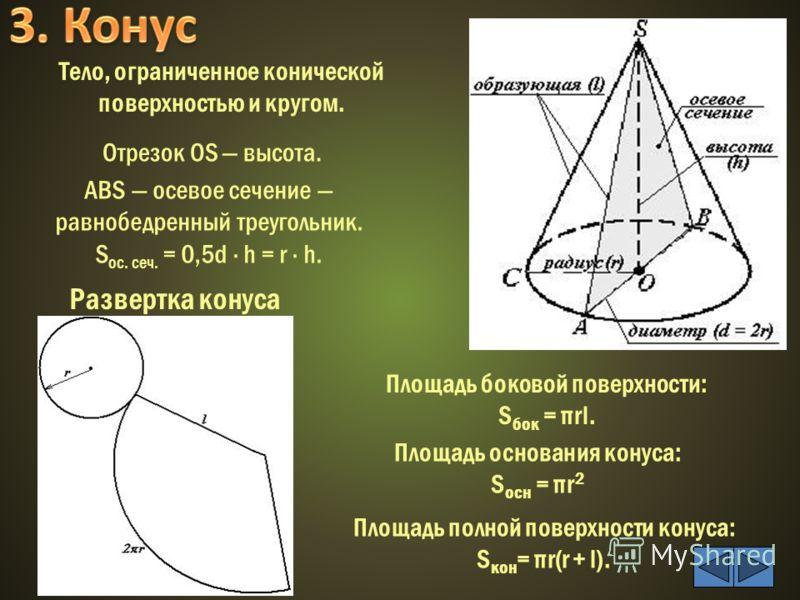 Отрезок ОS высота. AВS осевое сечение равнобедренный треугольник. S ос. сеч. = 0,5d · h = r · h. Площадь боковой поверхности: S бок = πrl. Площадь полной поверхности конуса: S кон = πr(r + l). Развертка конуса Тело, ограниченное конической поверхност