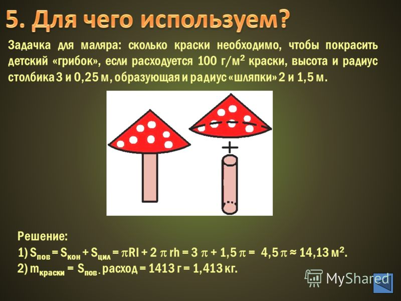 Задачка для маляра: сколько краски необходимо, чтобы покрасить детский «грибок», если расходуется 100 г/м 2 краски, высота и радиус столбика 3 и 0,25