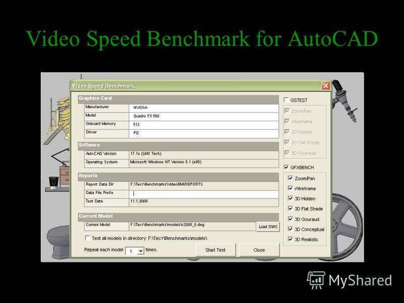 Video Speed Benchmark for AutoCAD Режимы работыРасшифровка режима3D представление Wireframe Отображение только каркасных линий элементов. 3D Hidden Отображение только каркасных линий элементов со скрытыми гранями. 3D Flat Shade Отображение с раскраши