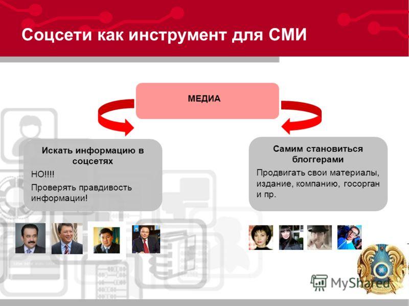 Соцсети как инструмент для СМИ МЕДИА Искать информацию в соцсетях НО!!!! Проверять правдивость информации! Самим становиться блоггерами Продвигать свои материалы, издание, компанию, госорган и пр.