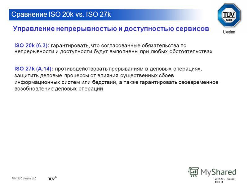 TÜV SÜD Ukraine LLC 2011-10 / I.Garipov slide 15 Сравнение ISO 20k vs. ISO 27k ISO 20k (6.3): гарантировать, что согласованные обязательства по непрерывности и доступности будут выполнены при любых обстоятельствах ISO 27k (A.14): противодействовать п