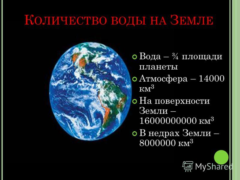 К ОЛИЧЕСТВО ВОДЫ НА З ЕМЛЕ Вода – ¾ площади планеты Атмосфера – 14000 км 3 На поверхности Земли – 16000000000 км 3 В недрах Земли – 8000000 км 3