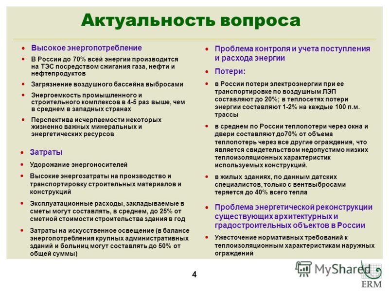 4 Актуальность вопроса Высокое энергопотребление В России до 70% всей энергии производится на ТЭС посредством сжигания газа, нефти и нефтепродуктов Загрязнение воздушного бассейна выбросами Энергоемкость промышленного и строительного комплексов в 4-5