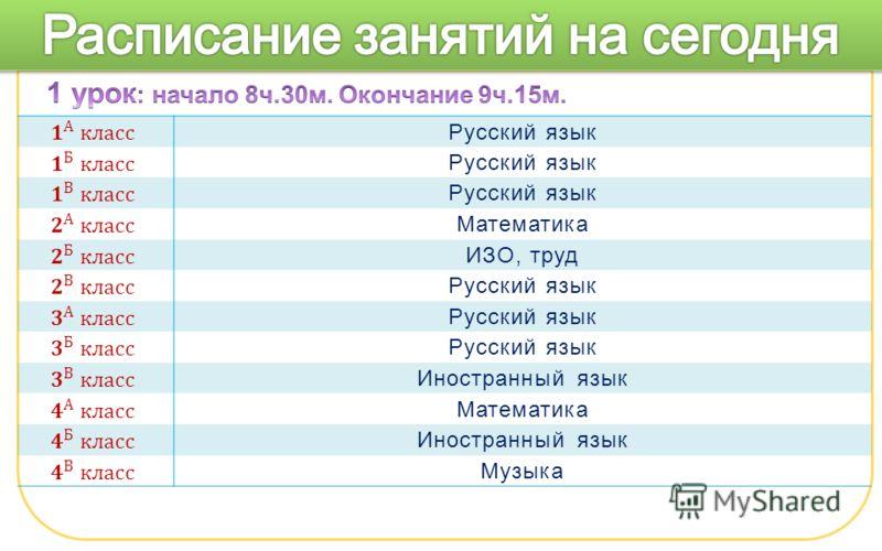 Русский язык Математика ИЗО, труд Русский язык Иностранный язык Математика Иностранный язык Музыка