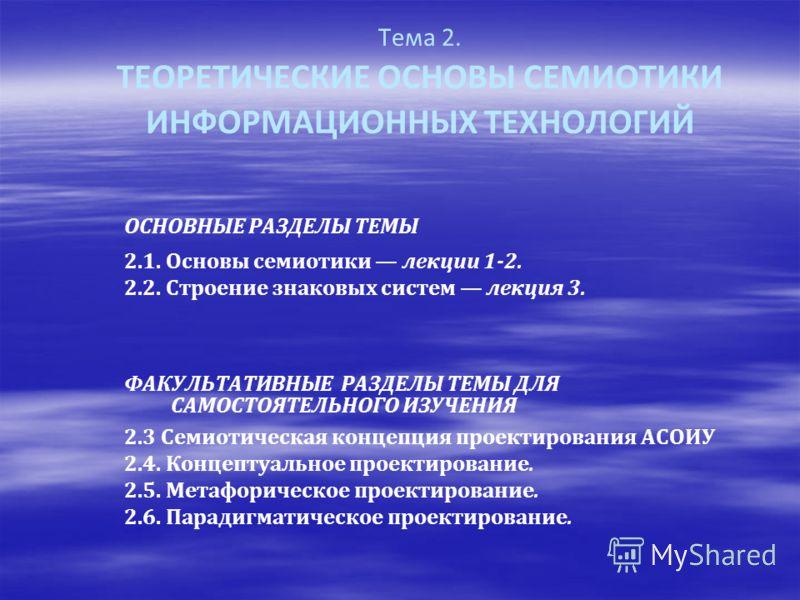 Тема 2. ТЕОРЕТИЧЕСКИЕ ОСНОВЫ СЕМИОТИКИ ИНФОРМАЦИОННЫХ ТЕХНОЛОГИЙ ОСНОВНЫЕ РАЗДЕЛЫ ТЕМЫ 2.1. Основы семиотики лекции 1-2. 2.2. Строение знаковых систем лекция 3. ФАКУЛЬТАТИВНЫЕ РАЗДЕЛЫ ТЕМЫ ДЛЯ САМОСТОЯТЕЛЬНОГО ИЗУЧЕНИЯ 2.3 Семиотическая концепция про