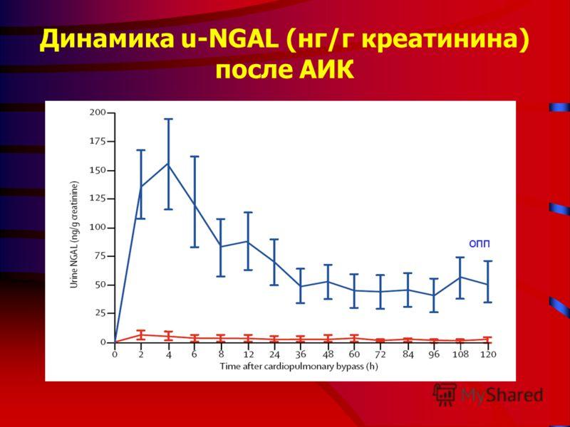 Динамика u-NGAL (нг/г креатинина) после АИК ОПП