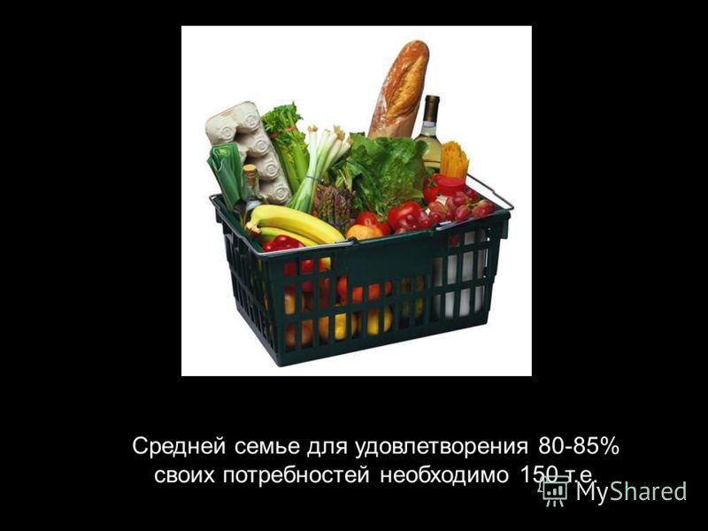 Средней семье для удовлетворения 80-85% своих потребностей необходимо 150 т.е.