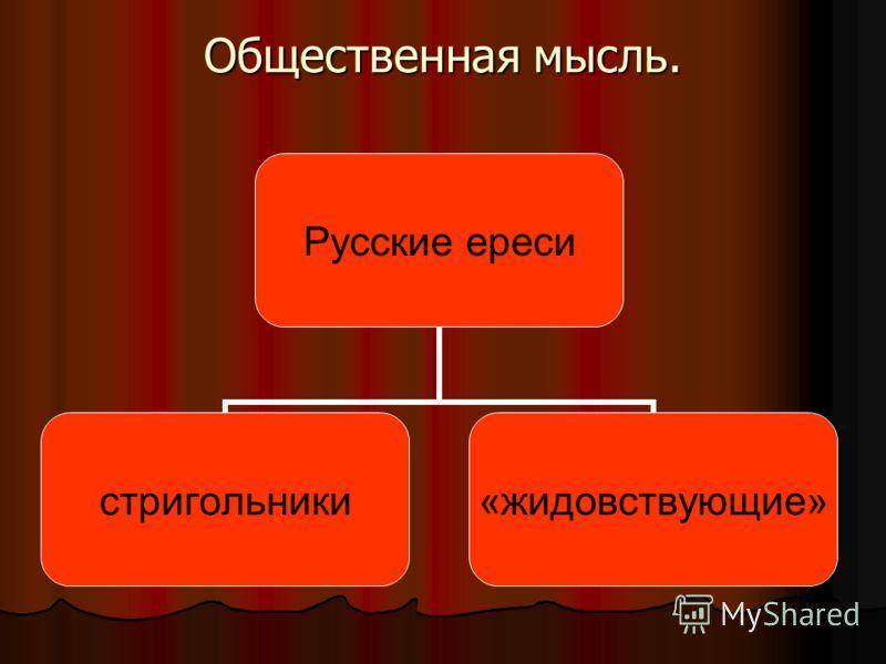 Общественная мысль. Русские ереси стригольники«жидовствующие»