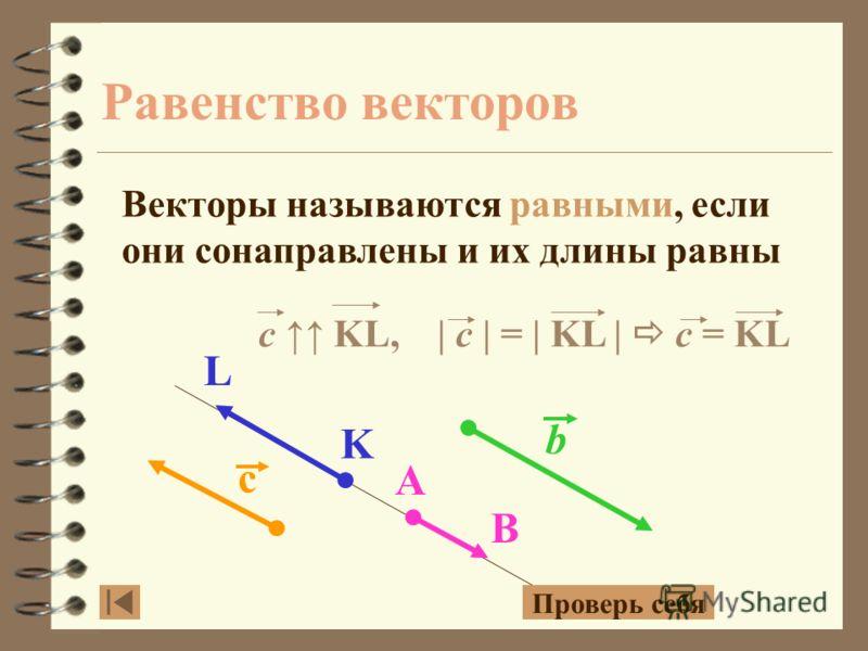 с b L K A B Противоположно направленные вектора Коллинеарные вектора имеющие противоположное направление, называются противоположно направленными векторами b KL AB c c b KL AB Проверь себя