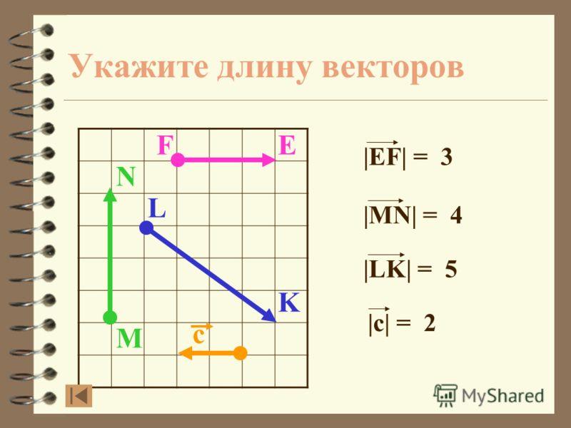 Укажите длину векторов M N FE L K с Сравним ответ