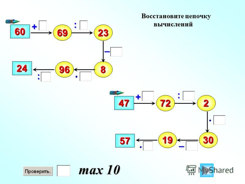 Восстановите цепочку вычислений – 69 : + 6023 89624 72 47 2 1930 57 : : + – max 10