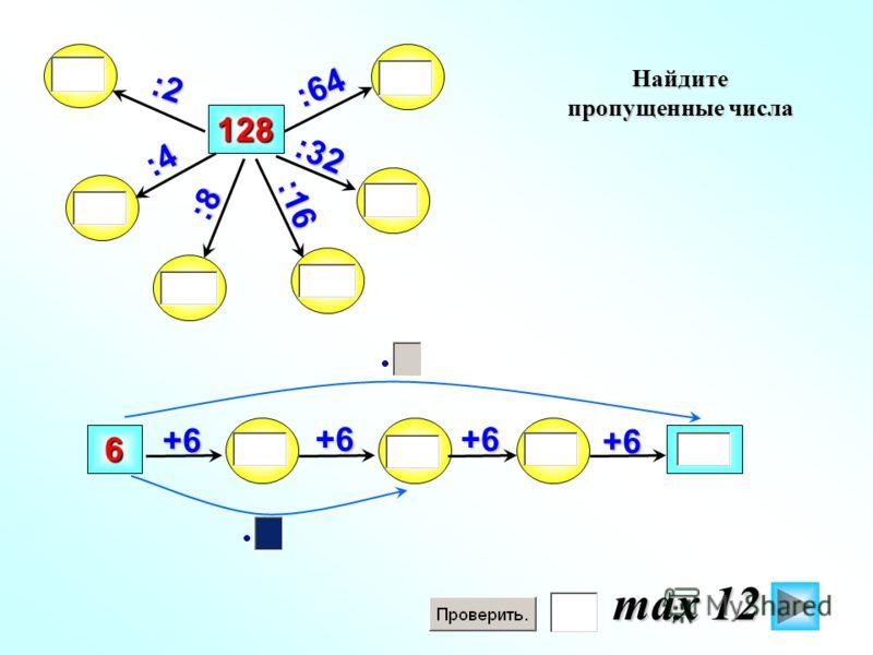 128 +6 :2 +6 6 :64 Найдите пропущенные числа :32 :16 :4 :8 +6+6 max 12