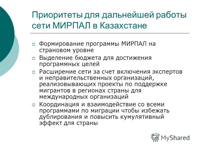 Приоритеты для дальнейшей работы сети МИРПАЛ в Казахстане Формирование программы МИРПАЛ на страновом уровне Выделение бюджета для достижения программных целей Расширение сети за счет включения экспертов и неправительственных организаций, реализовываю