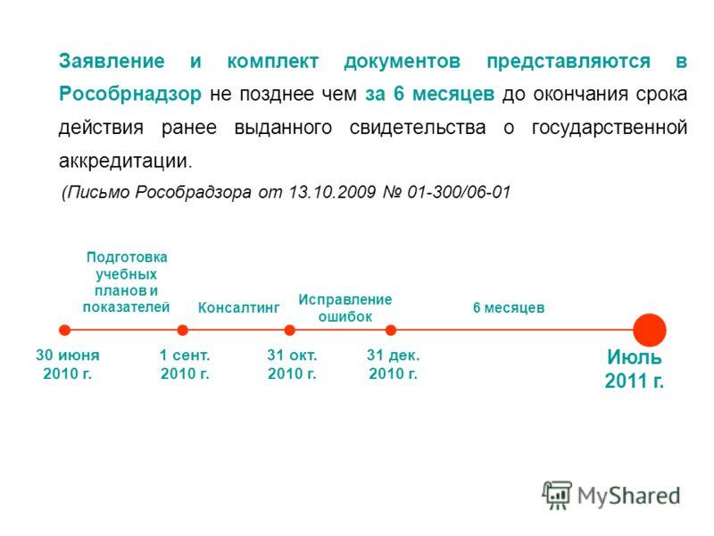 Заявление и комплект документов представляются в Рособрнадзор не позднее чем за 6 месяцев до окончания срока действия ранее выданного свидетельства о государственной аккредитации. (Письмо Рособрадзора от 13.10.2009 01-300/06-01 Июль 2011 г. Подготовк