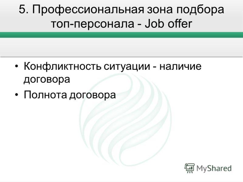 5. Профессиональная зона подбора топ-персонала - Job offer Конфликтность ситуации - наличие договора Полнота договора