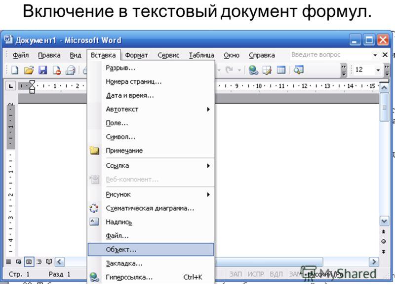 Включение в текстовый документ формул.