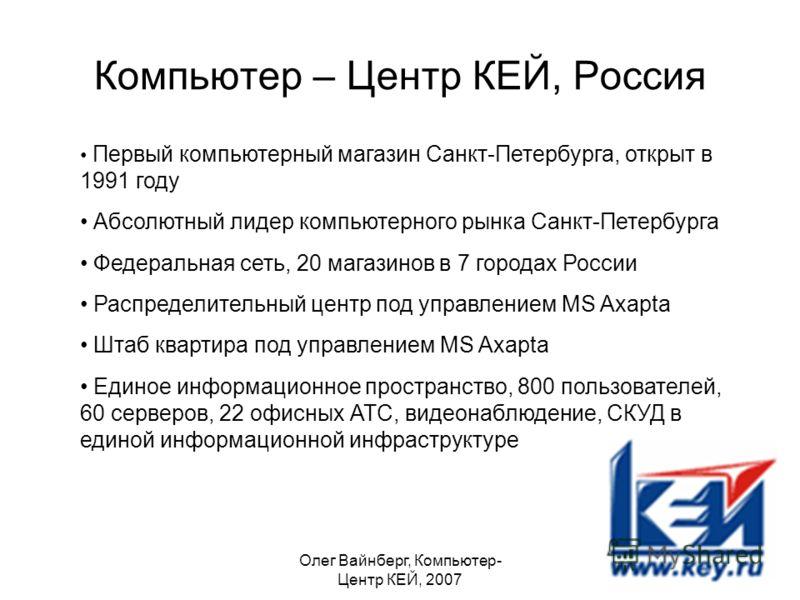Олег Вайнберг, Компьютер- Центр КЕЙ, 2007 Компьютер – Центр КЕЙ, Россия Первый компьютерный магазин Санкт-Петербурга, открыт в 1991 году Абсолютный лидер компьютерного рынка Санкт-Петербурга Федеральная сеть, 20 магазинов в 7 городах России Распредел