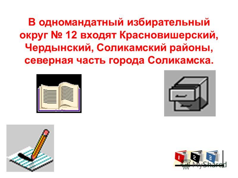 В одномандатный избирательный округ 12 входят Красновишерский, Чердынский, Соликамский районы, северная часть города Соликамска.