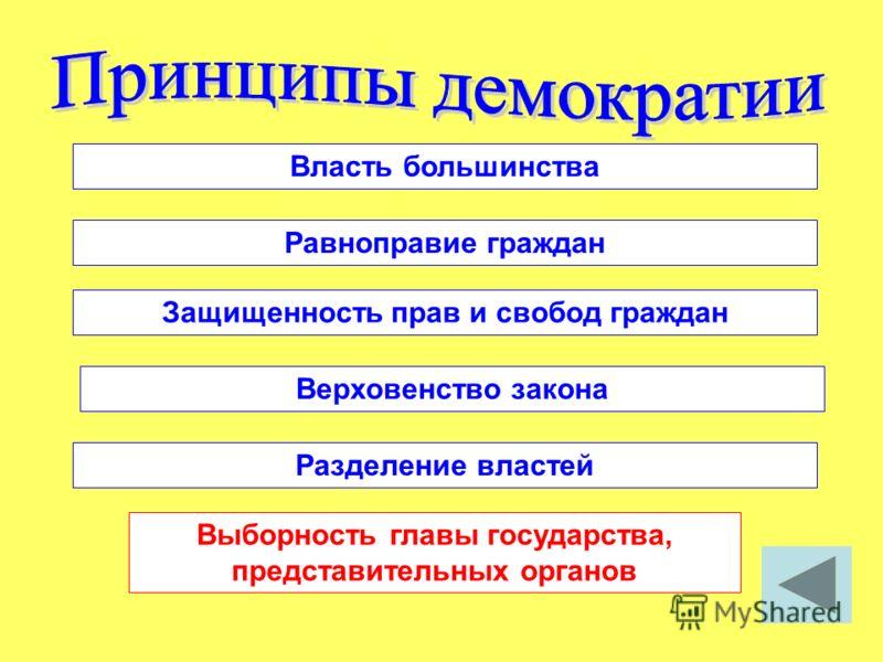 Власть большинства Равноправие граждан Защищенность прав и свобод граждан Верховенство закона Разделение властей Выборность главы государства, представительных органов