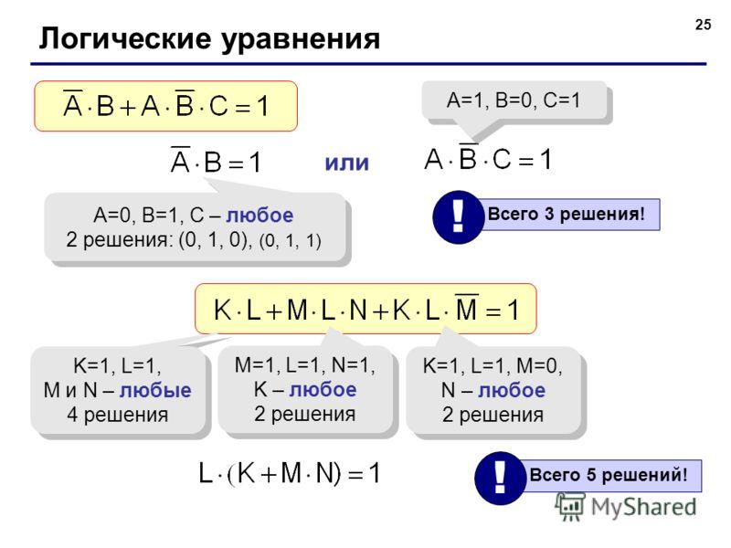 25 Логические уравнения A=0, B=1, C – любое 2 решения: (0, 1, 0), (0, 1, 1) A=0, B=1, C – любое 2 решения: (0, 1, 0), (0, 1, 1) или A=1, B=0, C=1 Всего 3 решения! ! K=1, L=1, M и N – любые 4 решения K=1, L=1, M и N – любые 4 решения M=1, L=1, N=1, K