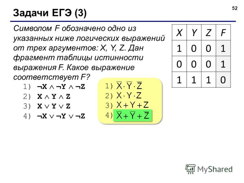 52 Задачи ЕГЭ (3) Символом F обозначено одно из указанных ниже логических выражений от трех аргументов: X, Y, Z. Дан фрагмент таблицы истинности выражения F. Какое выражение соответствует F? 1) ¬X ¬Y ¬Z 2) X Y Z 3) X Y Z 4) ¬X ¬Y ¬Z XYZF 1001 0001 11