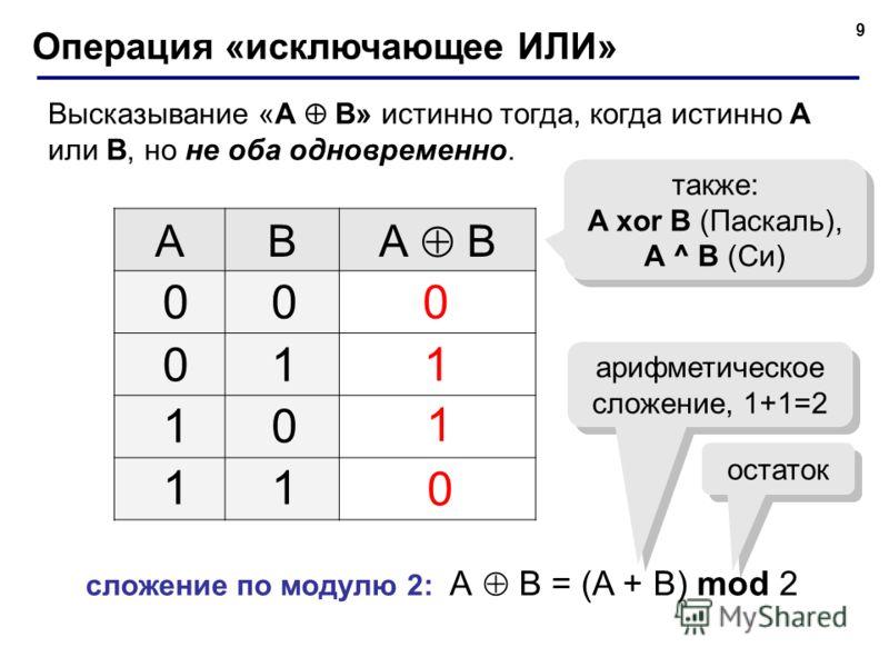 9 Операция «исключающее ИЛИ» Высказывание «A B» истинно тогда, когда истинно А или B, но не оба одновременно. AB А B 0 0 также: A xor B (Паскаль), A ^ B (Си) 00 01 10 11 1 1 сложение по модулю 2: А B = (A + B) mod 2 арифметическое сложение, 1+1=2 ост