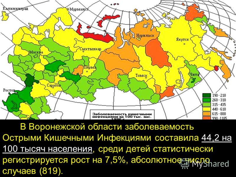 В Воронежской области заболеваемость Острыми Кишечными Инфекциями составила 44,2 на 100 тысяч населения, среди детей статистически регистрируется рост на 7,5%, абсолютное число случаев (819).