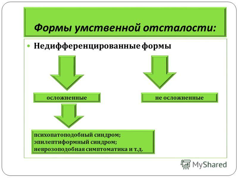 Формы умственной отсталости : Недифференцированные формы осложненныене осложненные психопатоподобный синдром ; эпилептиформный синдром ; неврозоподобная симптоматика и т. д.
