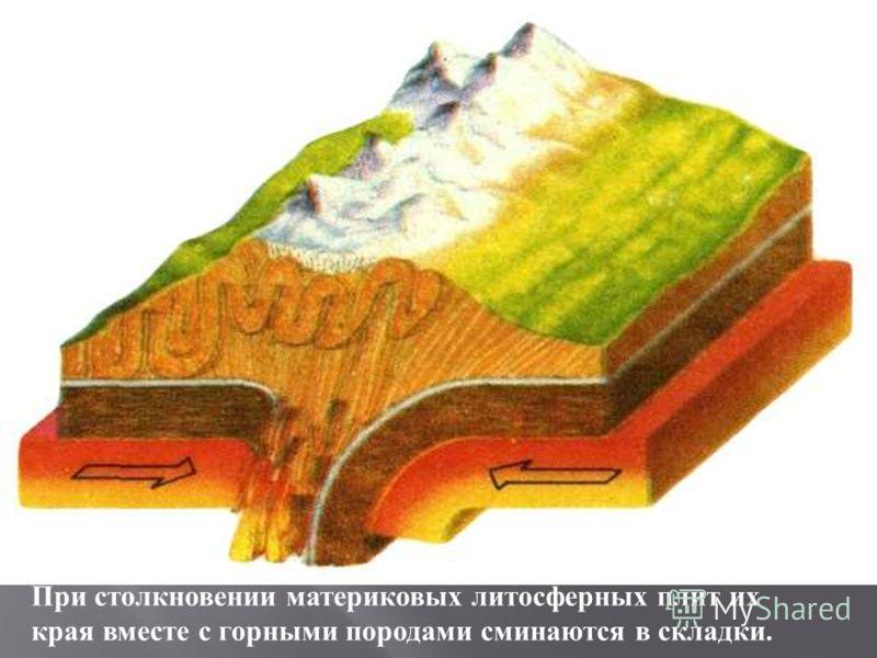 При столкновении материковых литосферных плит их края вместе с горными породами сминаются в складки.