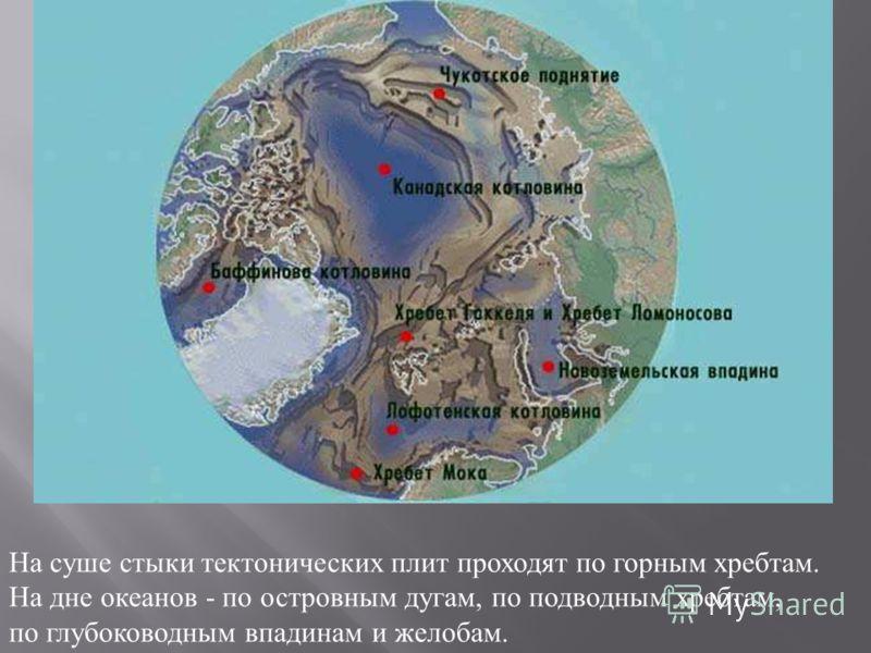 На суше стыки тектонических плит проходят по горным хребтам. На дне океанов - по островным дугам, по подводным хребтам, по глубоководным впадинам и желобам.