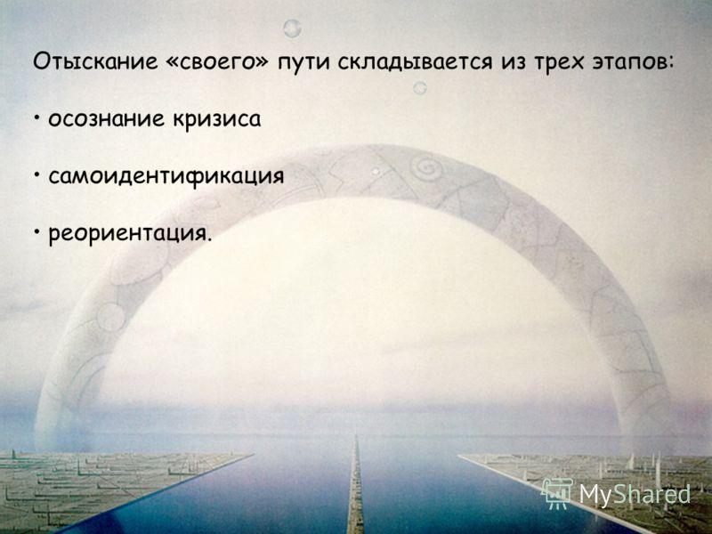 Отыскание «своего» пути складывается из трех этапов: осознание кризиса самоидентификация реориентация.