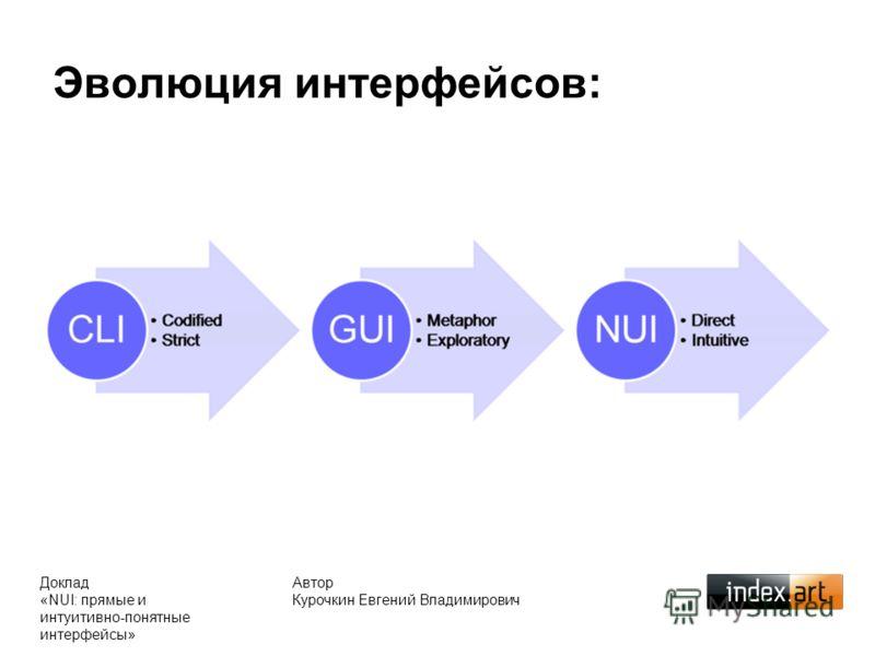Эволюция интерфейсов: Автор Курочкин Евгений Владимирович Доклад «NUI: прямые и интуитивно-понятные интерфейсы»
