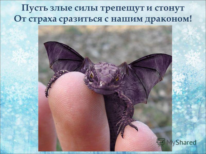 Пусть злые силы трепещут и стонут От страха сразиться с нашим драконом!