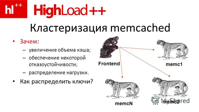 Кластеризация memcached Зачем: – увеличение объема кэша; – обеспечение некоторой отказоустойчивости; – распределение нагрузки. Как распределить ключи? memc2memcN Frontend memc1