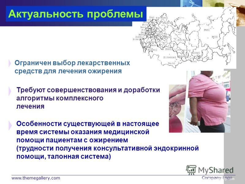 www.themegallery.com Company Logo www.themegallery.com Актуальность проблемы Требуют совершенствования и доработки алгоритмы комплексного лечения Ограничен выбор лекарственных средств для лечения ожирения Особенности существующей в настоящее время си