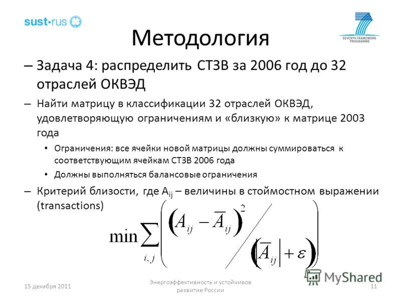 Методология – Задача 4: распределить СТЗВ за 2006 год до 32 отраслей ОКВЭД – Найти матрицу в классификации 32 отраслей ОКВЭД, удовлетворяющую ограничениям и «близкую» к матрице 2003 года Ограничения: все ячейки новой матрицы должны суммироваться к со