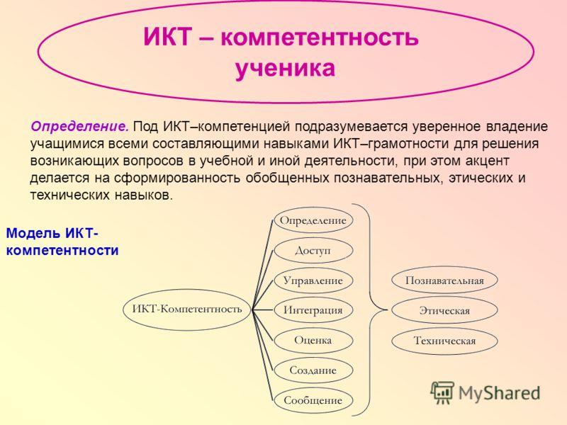 Определение. Под ИКТ–компетенцией подразумевается уверенное владение учащимися всеми составляющими навыками ИКТ–грамотности для решения возникающих вопросов в учебной и иной деятельности, при этом акцент делается на сформированность обобщенных познав