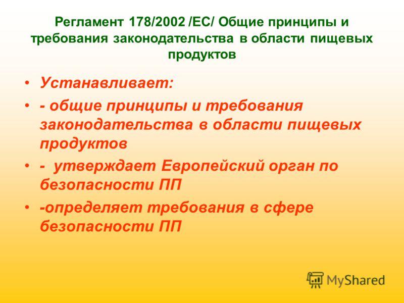 Регламент 178/2002 /ЕС/ Общие принципы и требования законодательства в области пищевых продуктов Устанавливает: - общие принципы и требования законодательства в области пищевых продуктов - утверждает Европейский орган по безопасности ПП -определяет т
