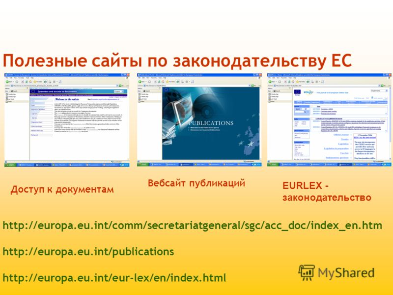 Полезные сайты по законодательству ЕС http://europa.eu.int/comm/secretariatgeneral/sgc/acc_doc/index_en.htm http://europa.eu.int/publications http://europa.eu.int/eur-lex/en/index.html Доступ к документам Вебсайт публикаций EURLEX - законодательство