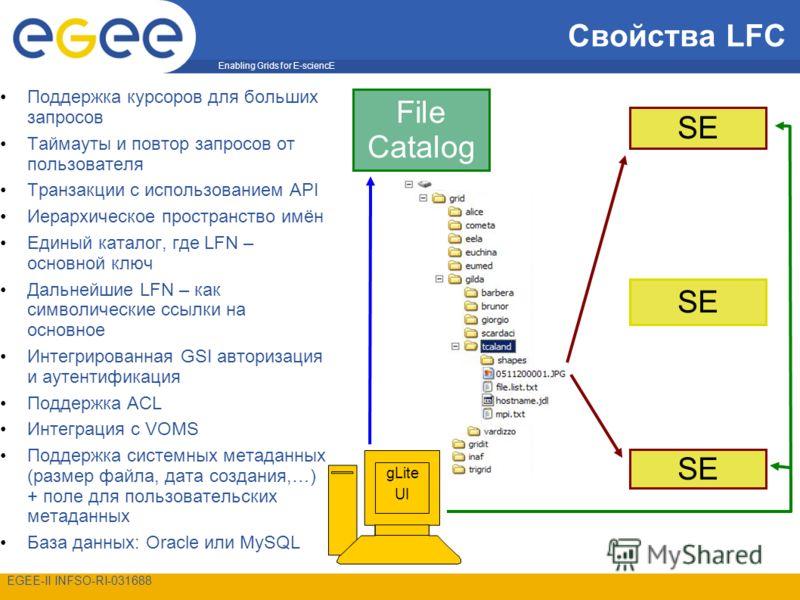 Enabling Grids for E-sciencE EGEE-II INFSO-RI-031688 Свойства LFC Поддержка курсоров для больших запросов Таймауты и повтор запросов от пользователя Транзакции с использованием API Иерархическое пространство имён Единый каталог, где LFN – основной кл