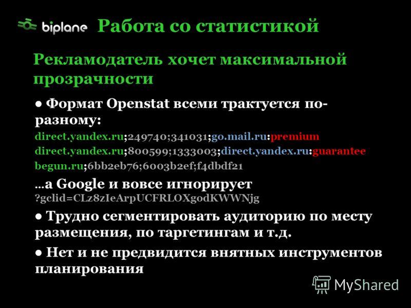 Формат Openstat всеми трактуется по- разному: direct.yandex.ru;249740;341031;go.mail.ru:premium direct.yandex.ru;800599;1333003;direct.yandex.ru:guarantee begun.ru;6bb2eb76;6003b2ef;f4dbdf21 … а Google и вовсе игнорирует ?gclid=CLz8zIeArpUCFRLOXgodKW