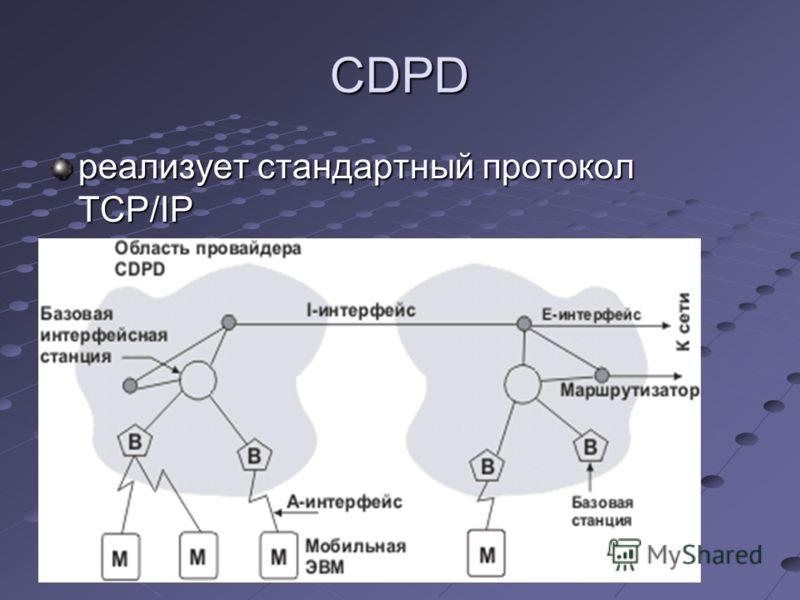 CDPD реализует стандартный протокол TCP/IP